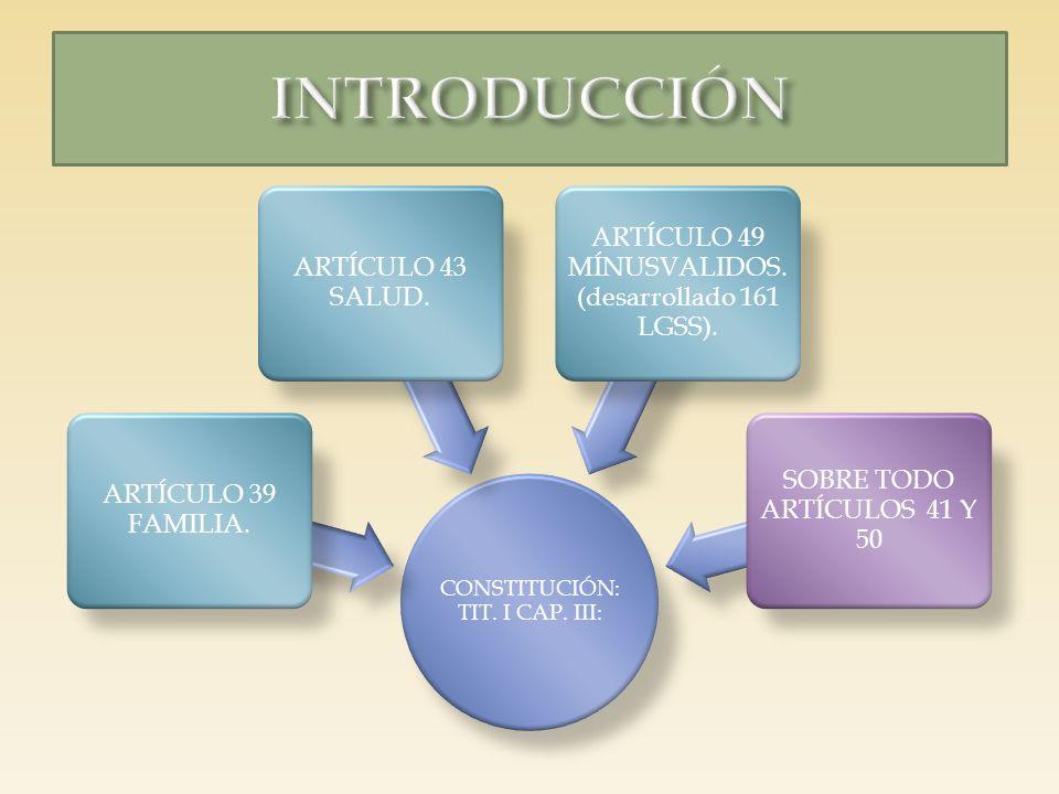 INTRODUCCIÓN ARTÍCULO 49 MÍNUSVALIDOS. (desarrollado 161 LGSS).