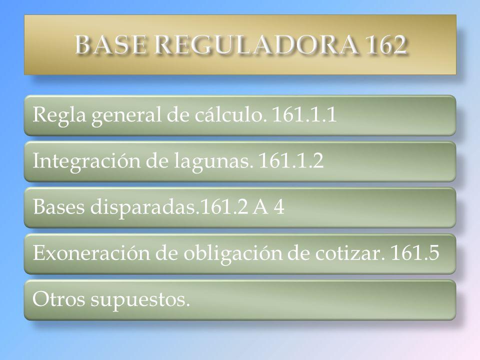 BASE REGULADORA 162 Regla general de cálculo. 161.1.1