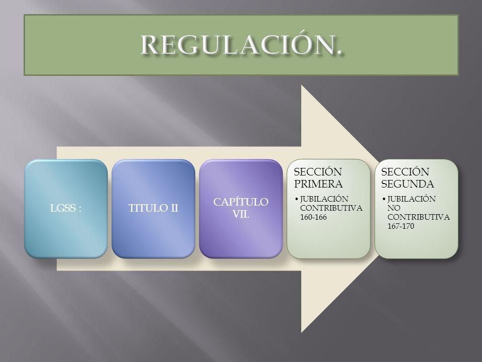 REGULACIÓN. LGSS : TITULO II CAPÍTULO VII. SECCIÓN PRIMERA