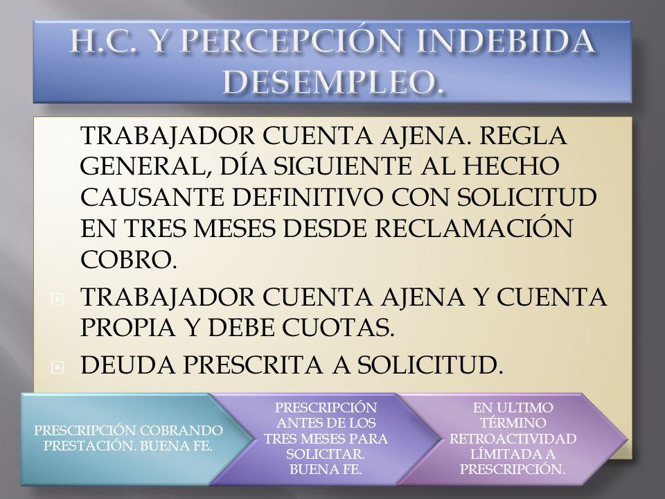 H.C. Y PERCEPCIÓN INDEBIDA DESEMPLEO.
