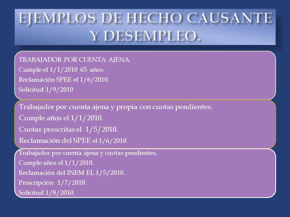EJEMPLOS DE HECHO CAUSANTE Y DESEMPLEO.