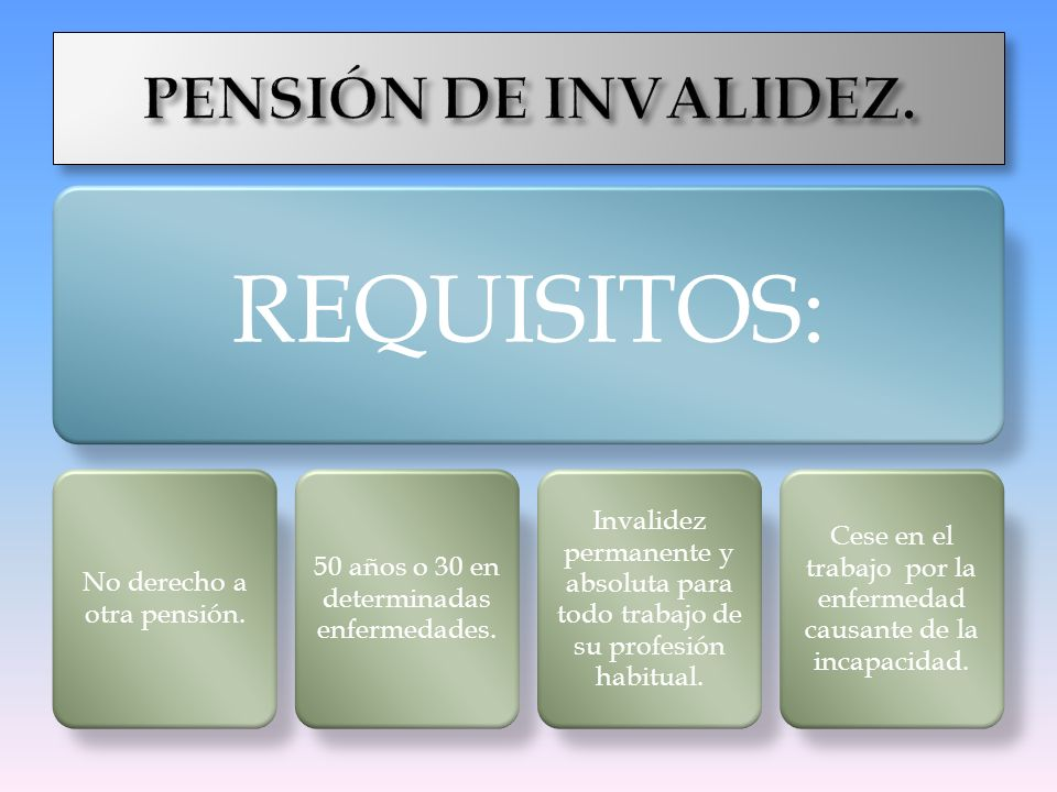 REQUISITOS: PENSIÓN DE INVALIDEZ.