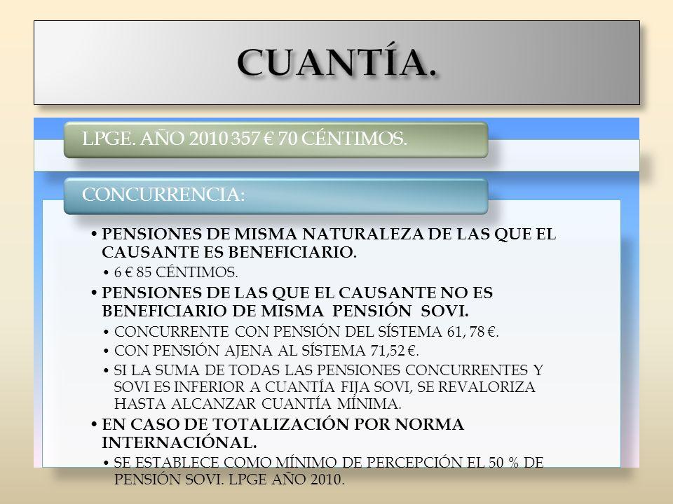 CUANTÍA. LPGE. AÑO 2010 357 € 70 CÉNTIMOS. CONCURRENCIA: