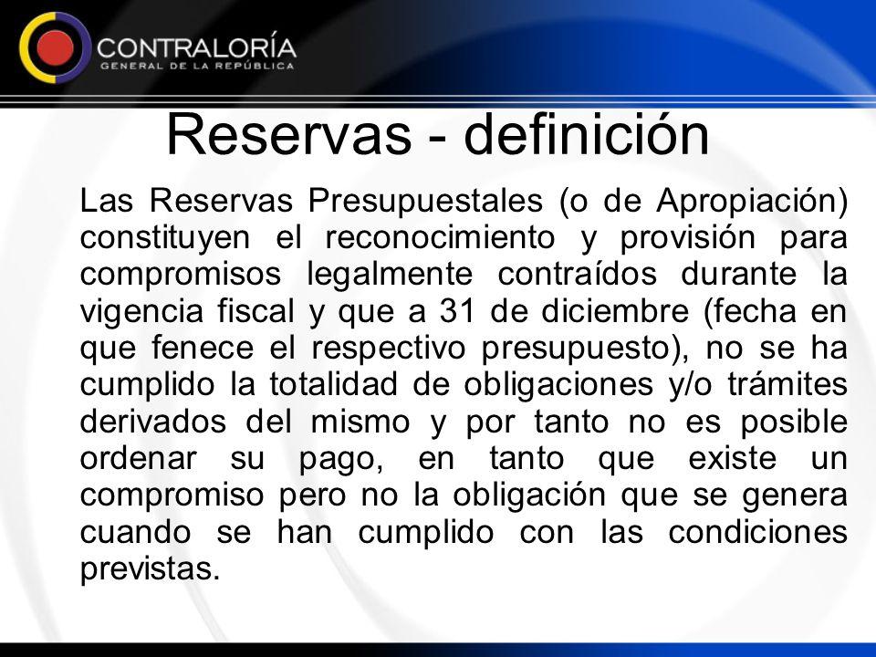 Reservas - definición