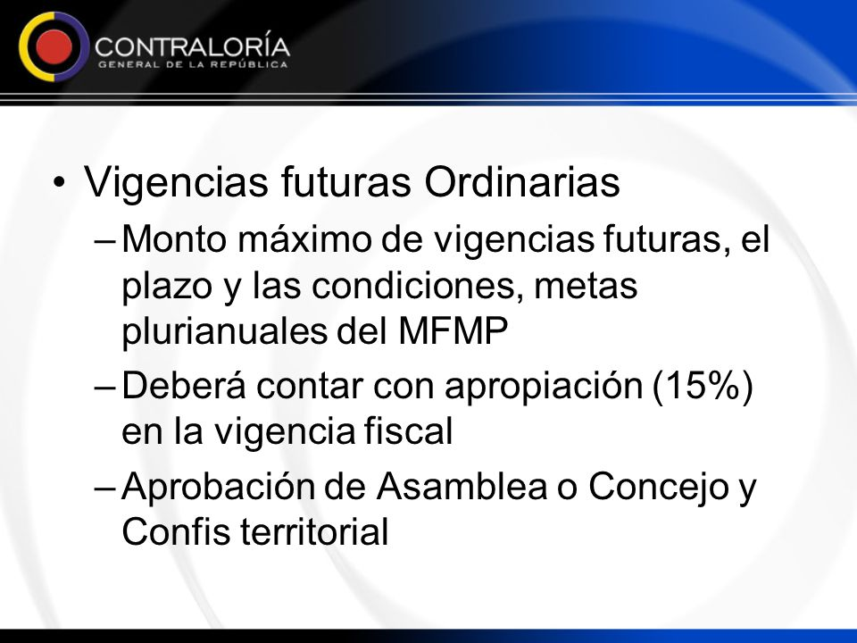 Vigencias futuras Ordinarias