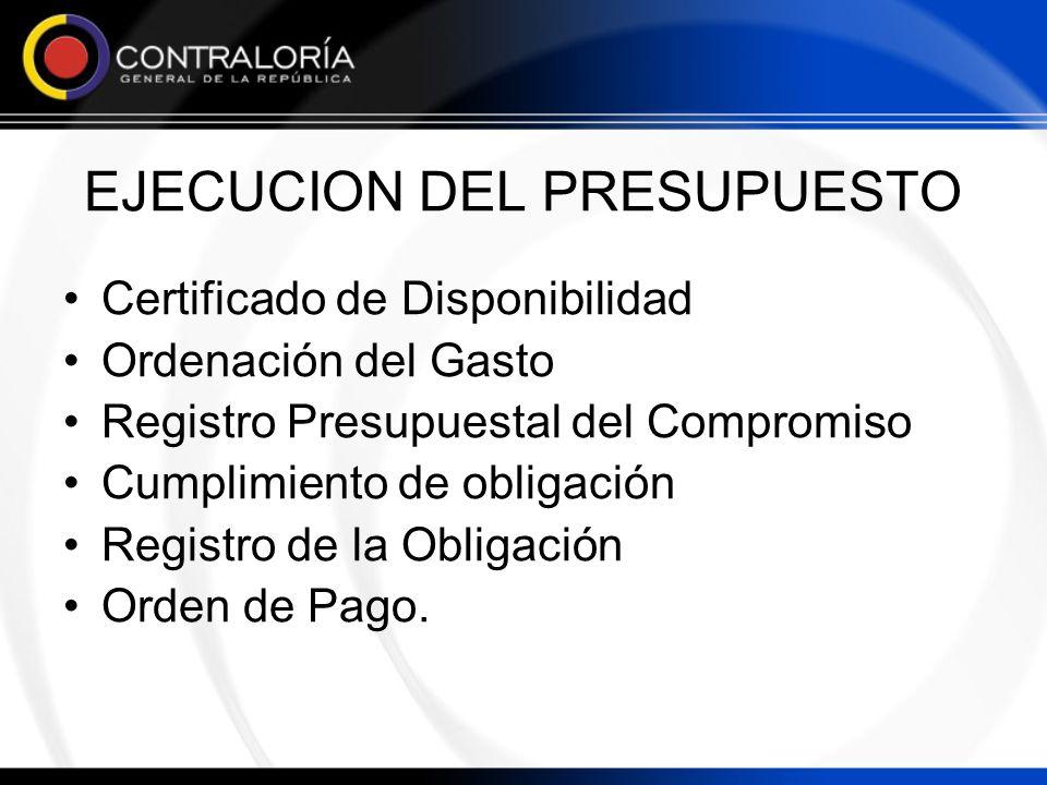EJECUCION DEL PRESUPUESTO