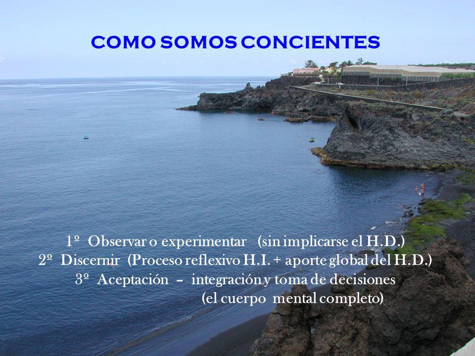 COMO SOMOS CONCIENTES 1º Observar o experimentar (sin implicarse el H.D.) 2º Discernir (Proceso reflexivo H.I. + aporte global del H.D.)
