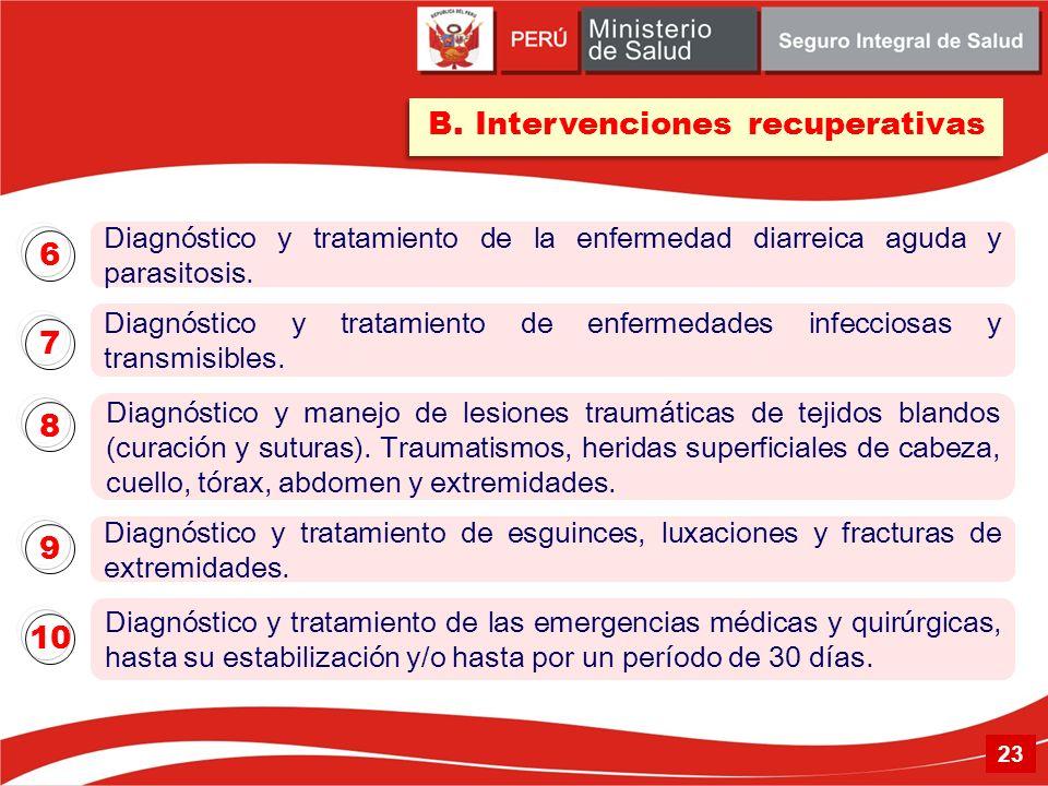 B. Intervenciones recuperativas