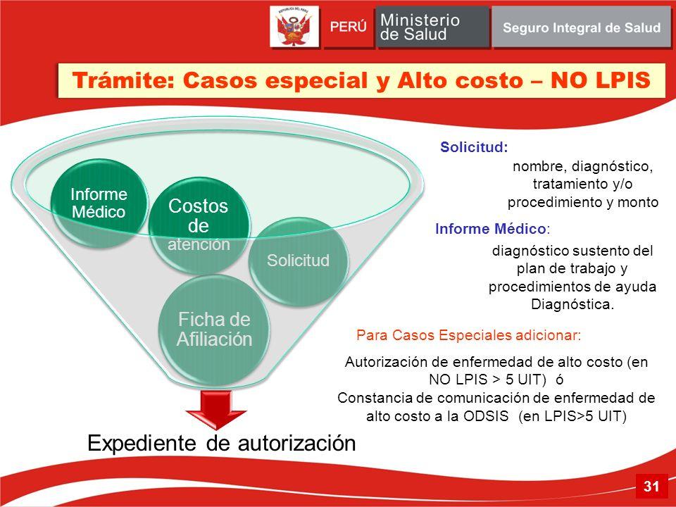 Trámite: Casos especial y Alto costo – NO LPIS