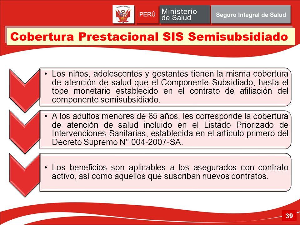 Cobertura Prestacional SIS Semisubsidiado