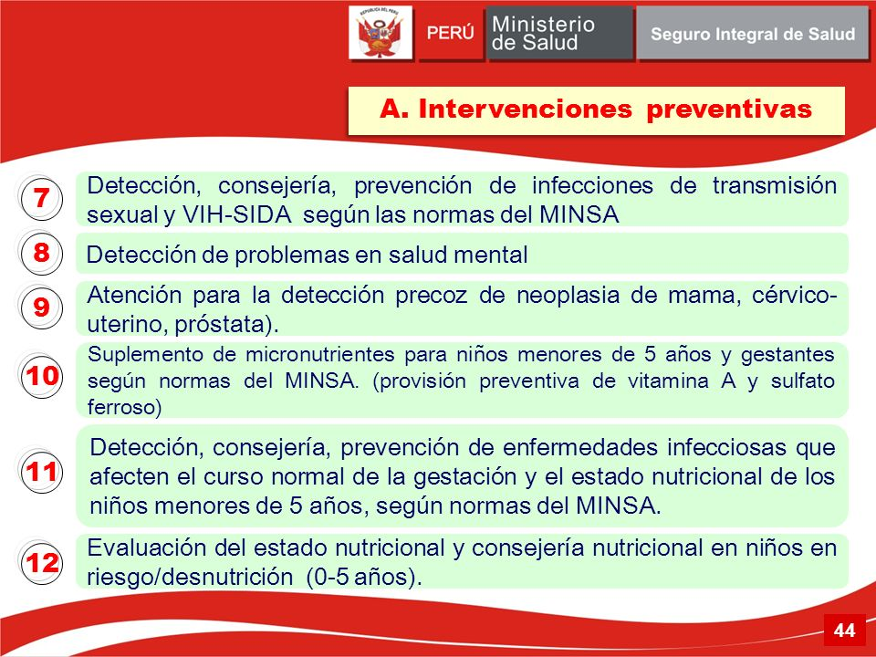 A. Intervenciones preventivas
