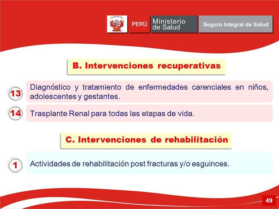 B. Intervenciones recuperativas C. Intervenciones de rehabilitación