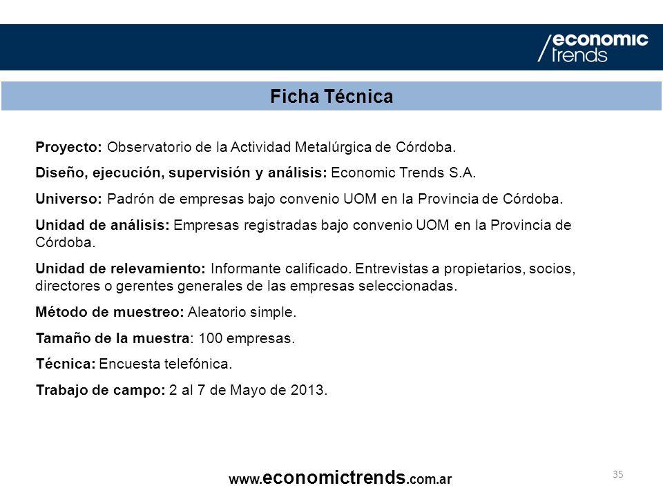Ficha Técnica Proyecto: Observatorio de la Actividad Metalúrgica de Córdoba. Diseño, ejecución, supervisión y análisis: Economic Trends S.A.