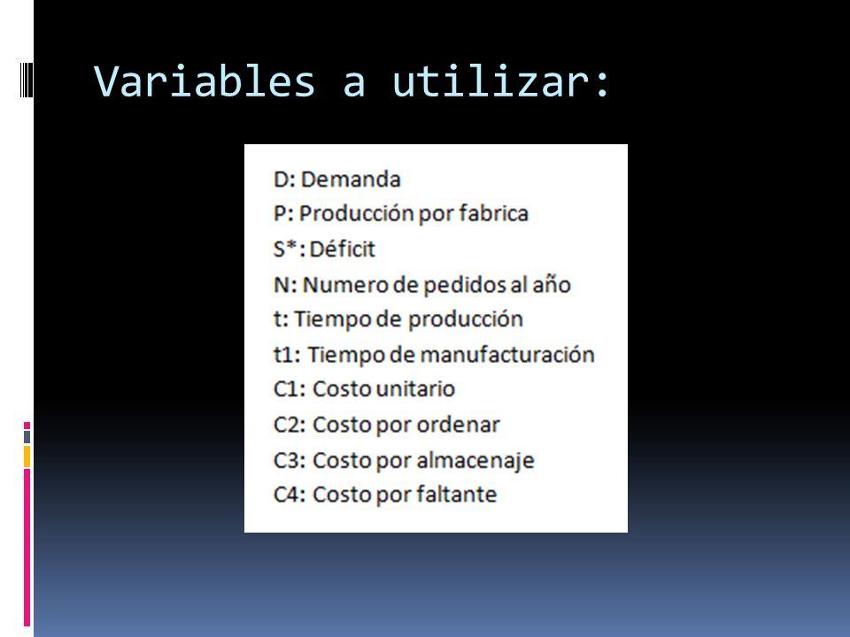 Variables a utilizar: