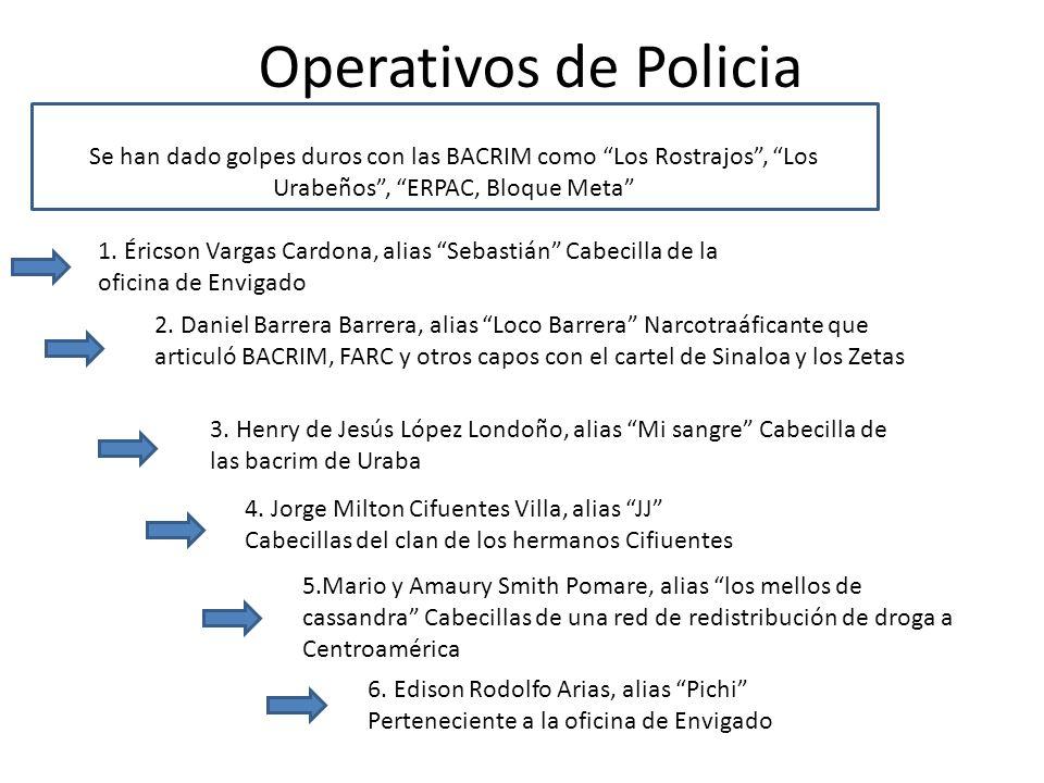 Operativos de Policia Se han dado golpes duros con las BACRIM como Los Rostrajos , Los Urabeños , ERPAC, Bloque Meta