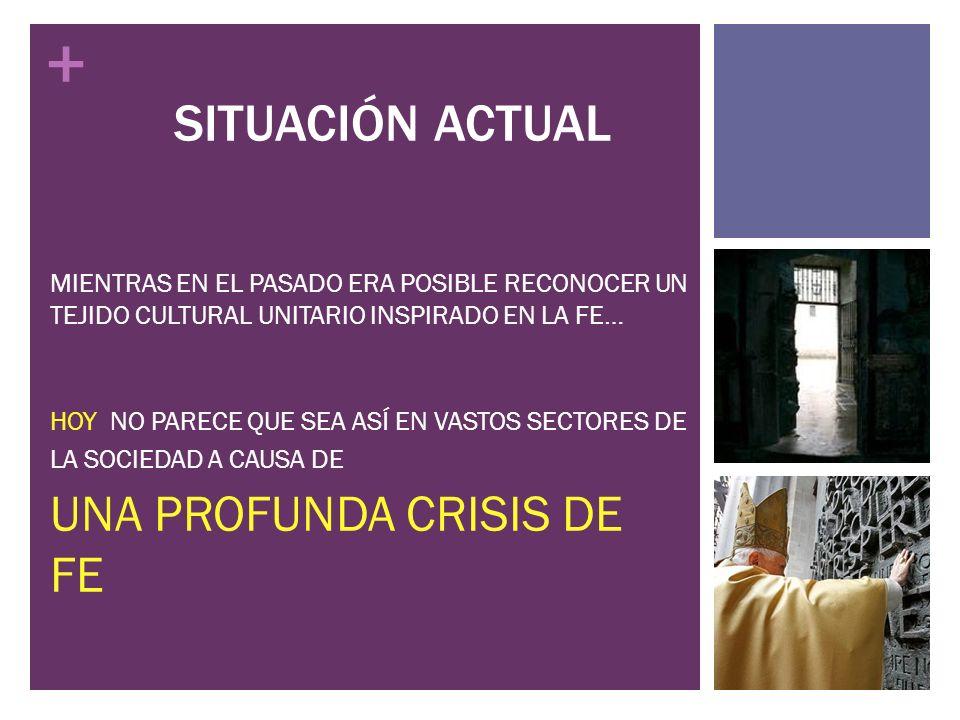 SITUACIÓN ACTUAL UNA PROFUNDA CRISIS DE FE