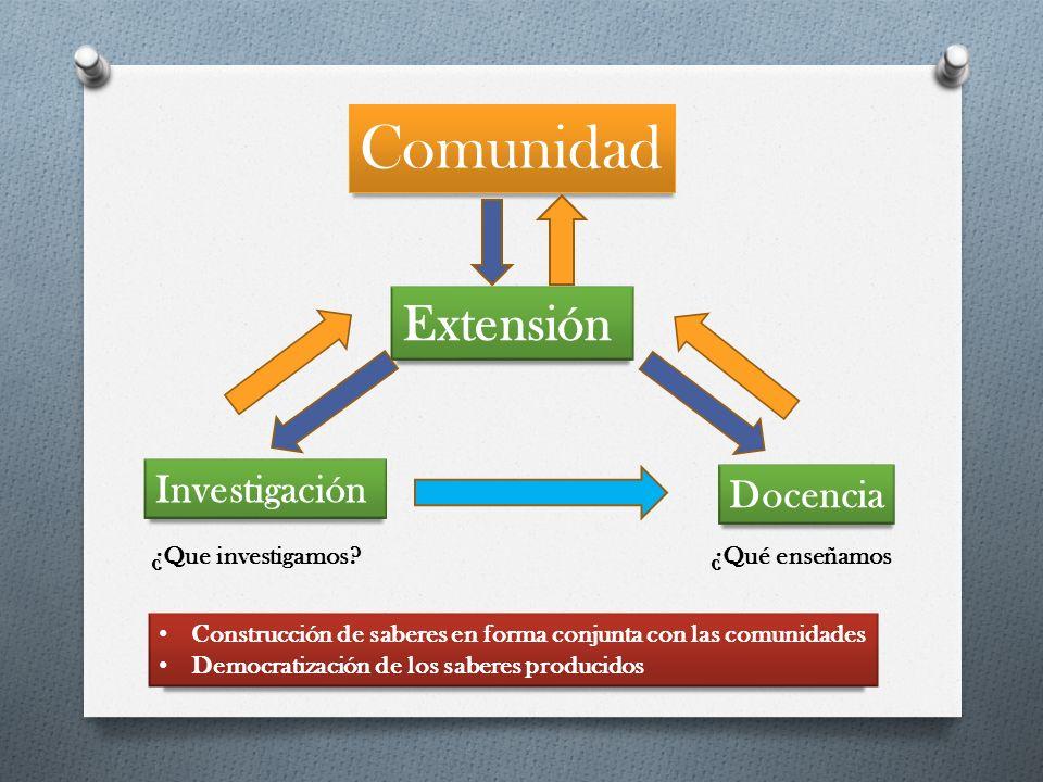 Comunidad Extensión Investigación Docencia ¿Que investigamos