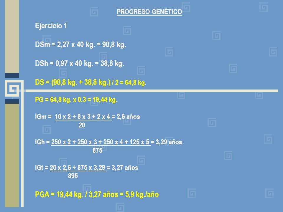PROGRESO GENÉTICO Ejercicio 1. DSm = 2,27 x 40 kg. = 90,8 kg. DSh = 0,97 x 40 kg. = 38,8 kg. DS = (90,8 kg. + 38,8 kg.) / 2 = 64,8 kg.