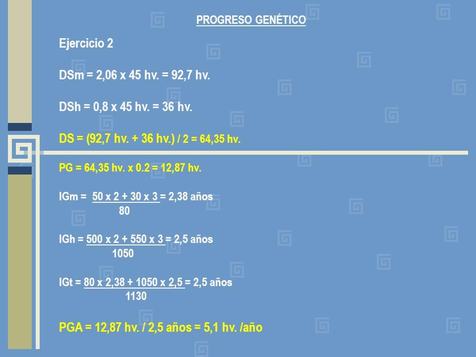 Ejercicio 2 DSm = 2,06 x 45 hv. = 92,7 hv. DSh = 0,8 x 45 hv. = 36 hv.