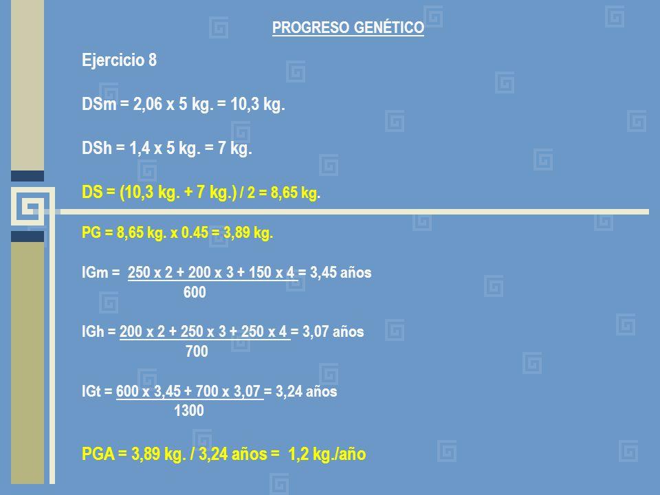 Ejercicio 8 DSm = 2,06 x 5 kg. = 10,3 kg. DSh = 1,4 x 5 kg. = 7 kg.