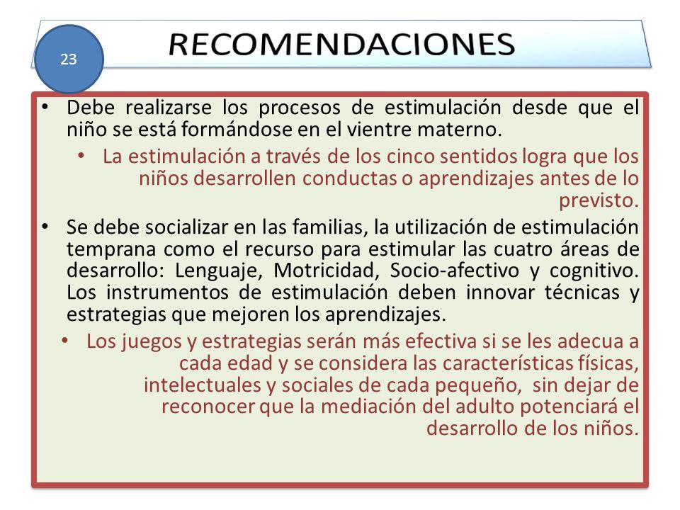 RECOMENDACIONES 23. Debe realizarse los procesos de estimulación desde que el niño se está formándose en el vientre materno.
