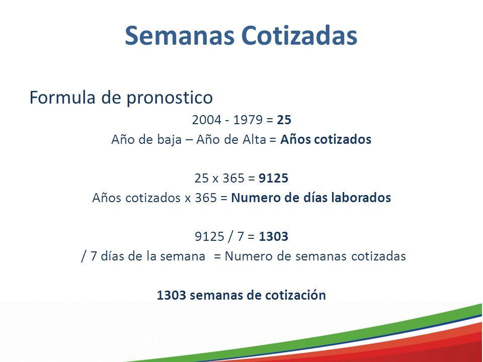 Semanas Cotizadas Formula de pronostico 2004 - 1979 = 25