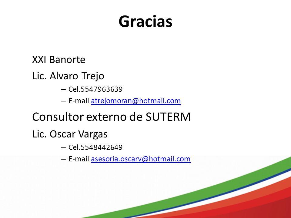 Gracias Consultor externo de SUTERM XXI Banorte Lic. Alvaro Trejo