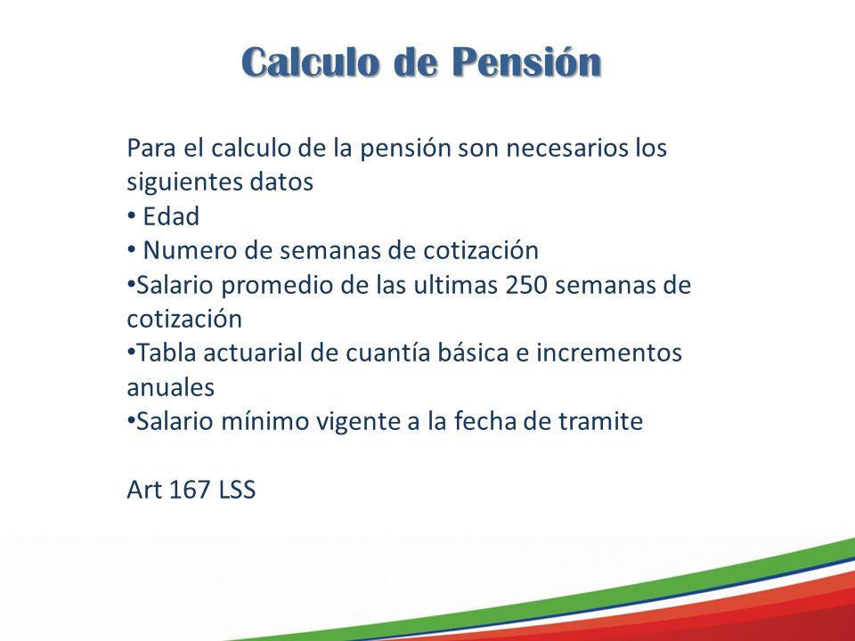Calculo de Pensión Para el calculo de la pensión son necesarios los siguientes datos. Edad. Numero de semanas de cotización.