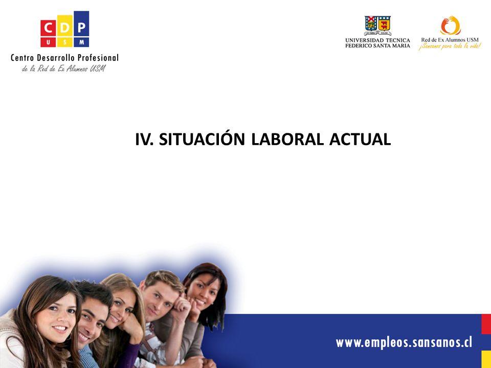 IV. SITUACIÓN LABORAL ACTUAL