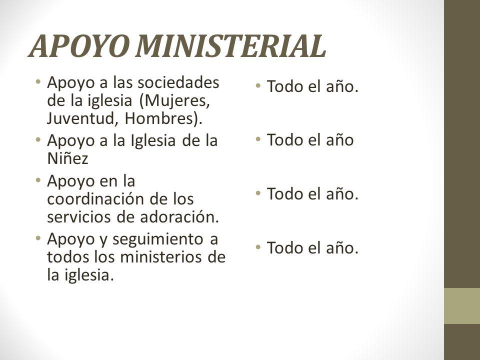 APOYO MINISTERIAL Apoyo a las sociedades de la iglesia (Mujeres, Juventud, Hombres). Apoyo a la Iglesia de la Niñez.
