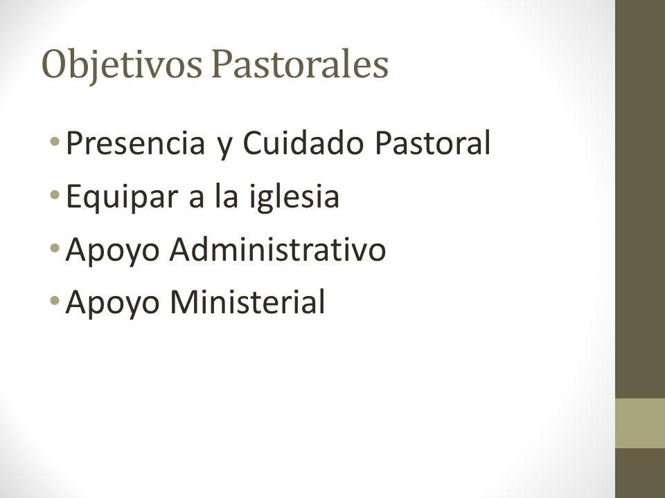 Objetivos Pastorales Presencia y Cuidado Pastoral Equipar a la iglesia