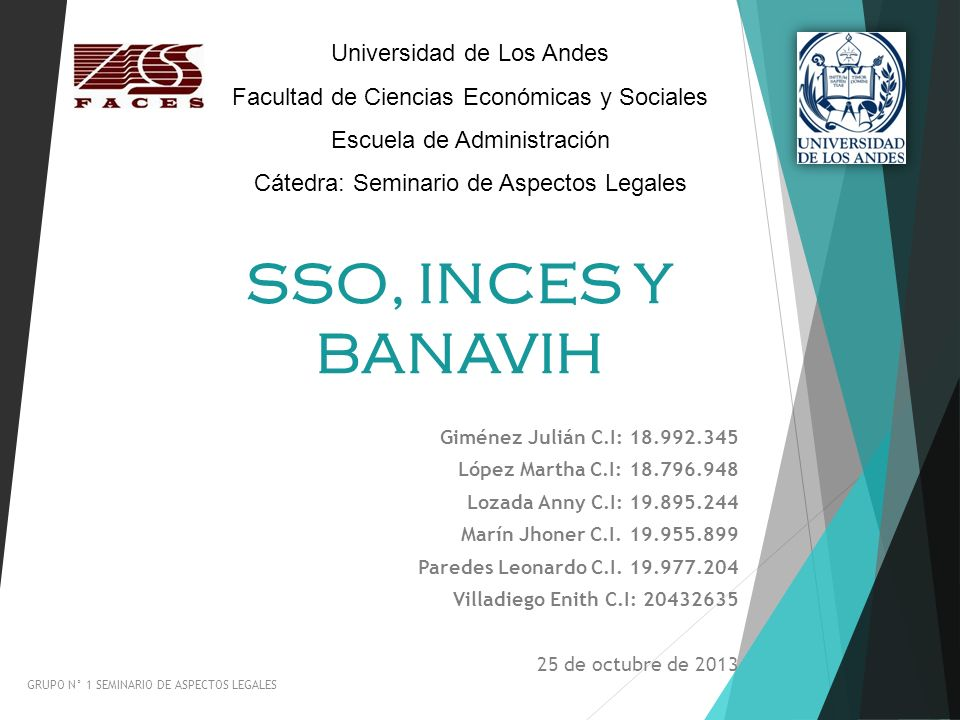 SSO, INCES Y BANAVIH Universidad de Los Andes