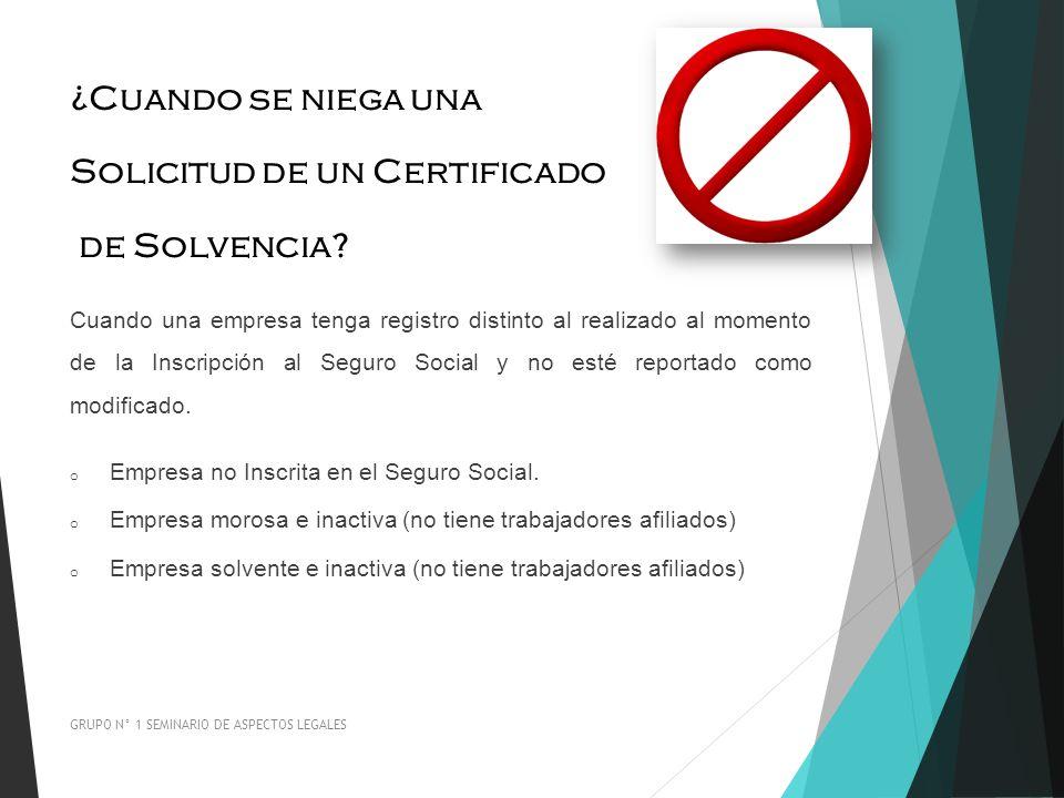 Solicitud de un Certificado de Solvencia