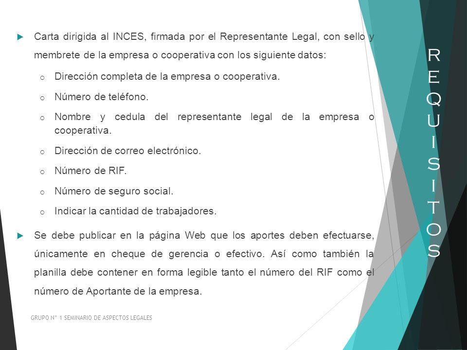 Carta dirigida al INCES, firmada por el Representante Legal, con sello y membrete de la empresa o cooperativa con los siguiente datos: