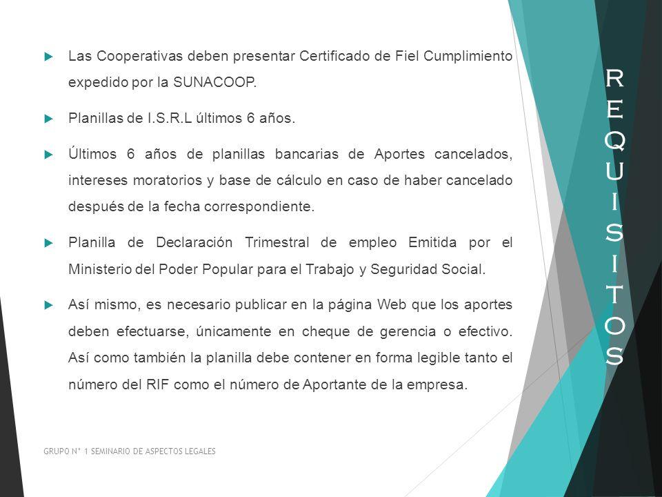Las Cooperativas deben presentar Certificado de Fiel Cumplimiento expedido por la SUNACOOP.