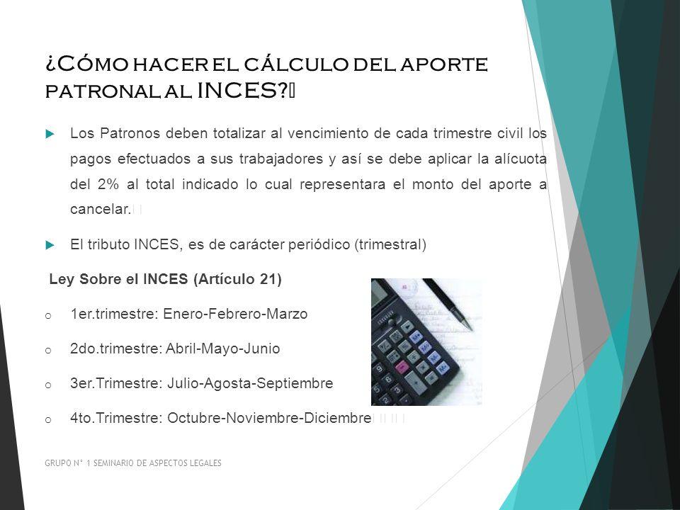 ¿Cómo hacer el cálculo del aporte patronal al INCES