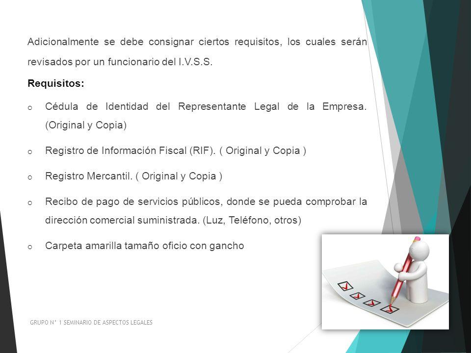 Registro de Información Fiscal (RIF). ( Original y Copia )