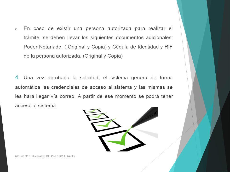 En caso de existir una persona autorizada para realizar el trámite, se deben llevar los siguientes documentos adicionales: Poder Notariado. ( Original y Copia) y Cédula de Identidad y RIF de la persona autorizada. (Original y Copia)