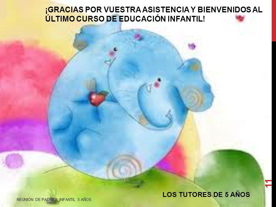 ¡GRACIAS POR VUESTRA ASISTENCIA Y BIENVENIDOS AL ÚLTIMO CURSO DE EDUCACIÓN INFANTIL!