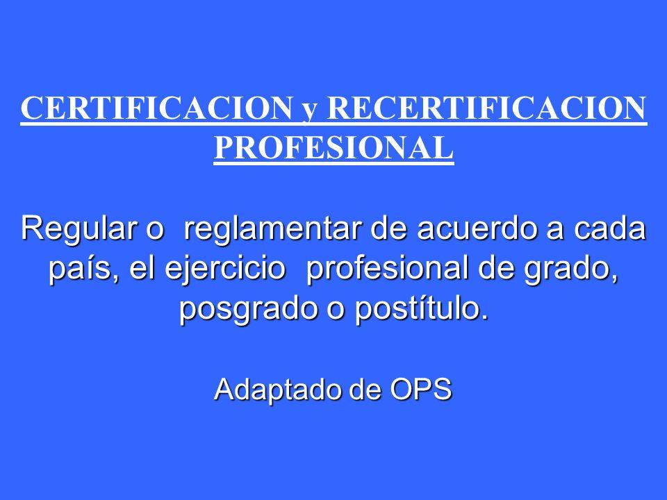 CERTIFICACION y RECERTIFICACION PROFESIONAL
