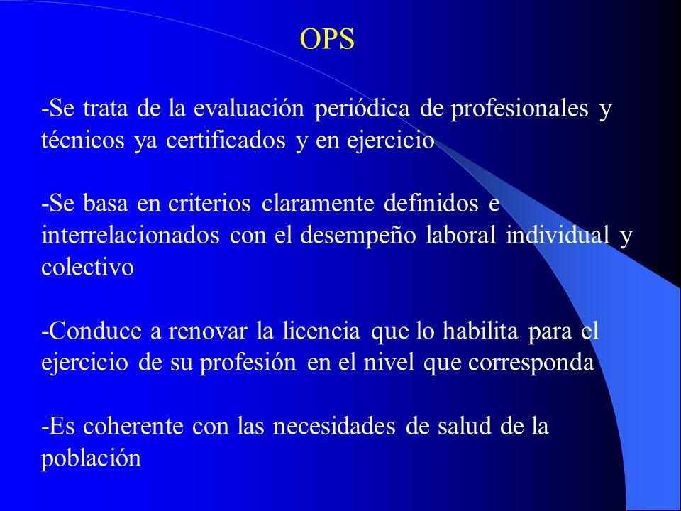 OPS -Se trata de la evaluación periódica de profesionales y técnicos ya certificados y en ejercicio.