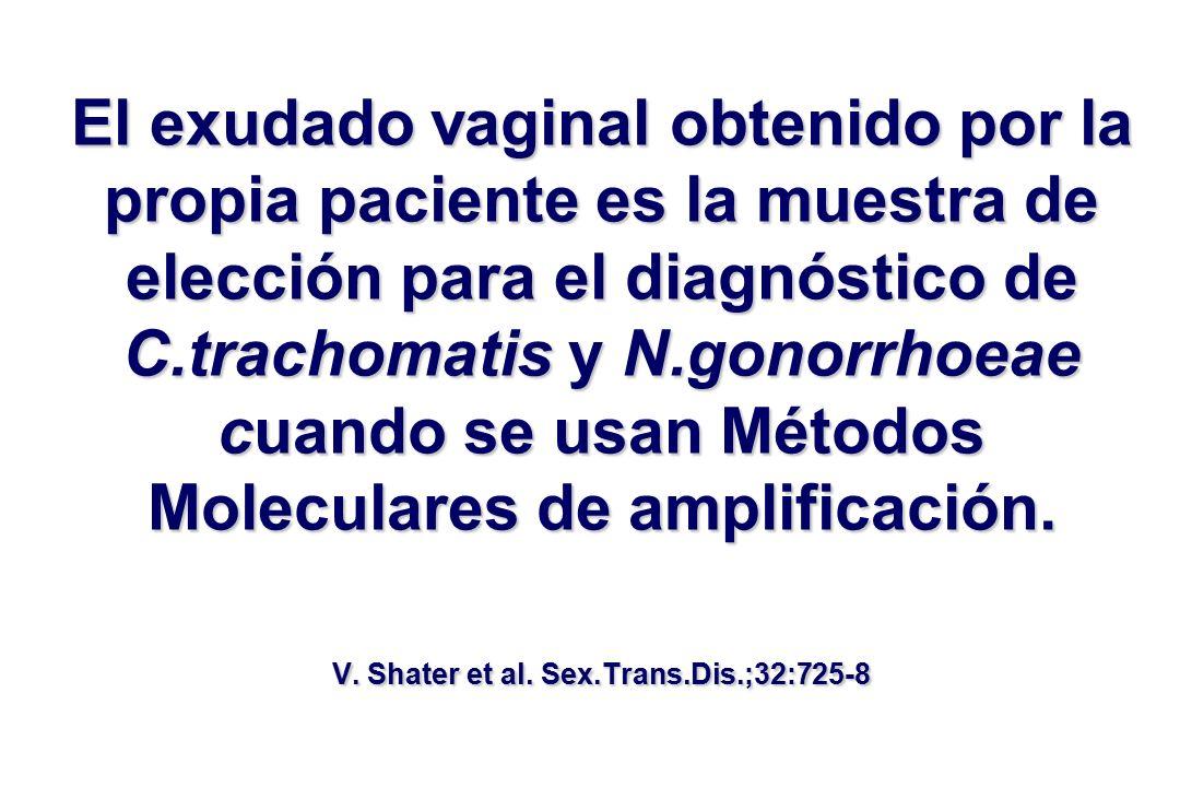 El exudado vaginal obtenido por la propia paciente es la muestra de elección para el diagnóstico de C.trachomatis y N.gonorrhoeae cuando se usan Métodos Moleculares de amplificación.