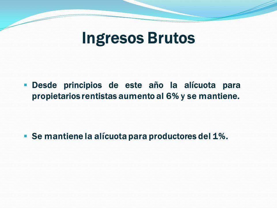 Ingresos Brutos Desde principios de este año la alícuota para propietarios rentistas aumento al 6% y se mantiene.