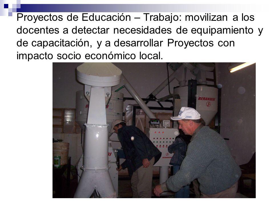 Proyectos de Educación – Trabajo: movilizan a los docentes a detectar necesidades de equipamiento y de capacitación, y a desarrollar Proyectos con impacto socio económico local.