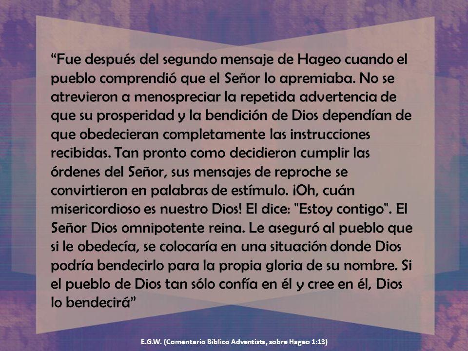 E.G.W. (Comentario Bíblico Adventista, sobre Hageo 1:13)