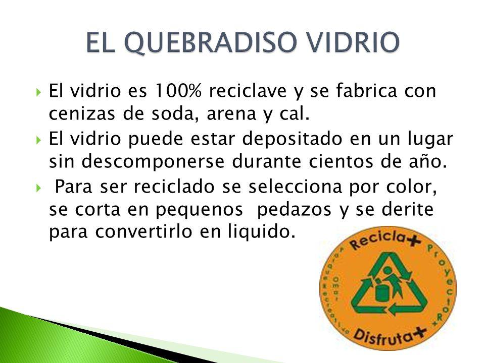 EL QUEBRADISO VIDRIO El vidrio es 100% reciclave y se fabrica con cenizas de soda, arena y cal.