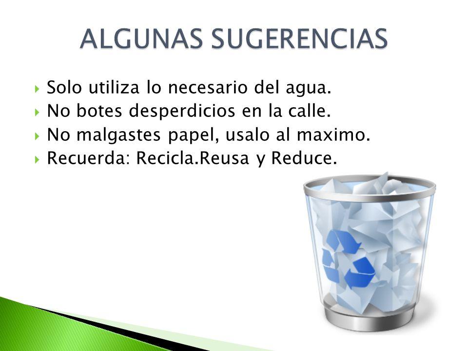 ALGUNAS SUGERENCIAS Solo utiliza lo necesario del agua.