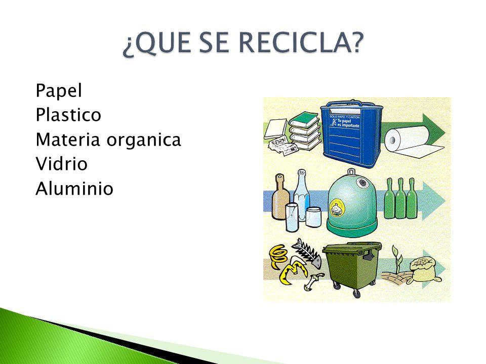 ¿QUE SE RECICLA Papel Plastico Materia organica Vidrio Aluminio