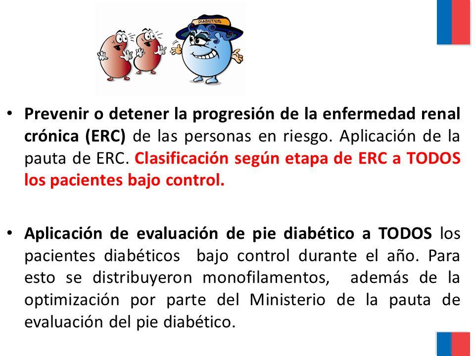 Prevenir o detener la progresión de la enfermedad renal crónica (ERC) de las personas en riesgo. Aplicación de la pauta de ERC. Clasificación según etapa de ERC a TODOS los pacientes bajo control.