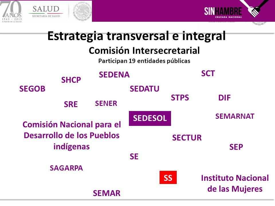 Estrategia transversal e integral Comisión Intersecretarial Participan 19 entidades públicas